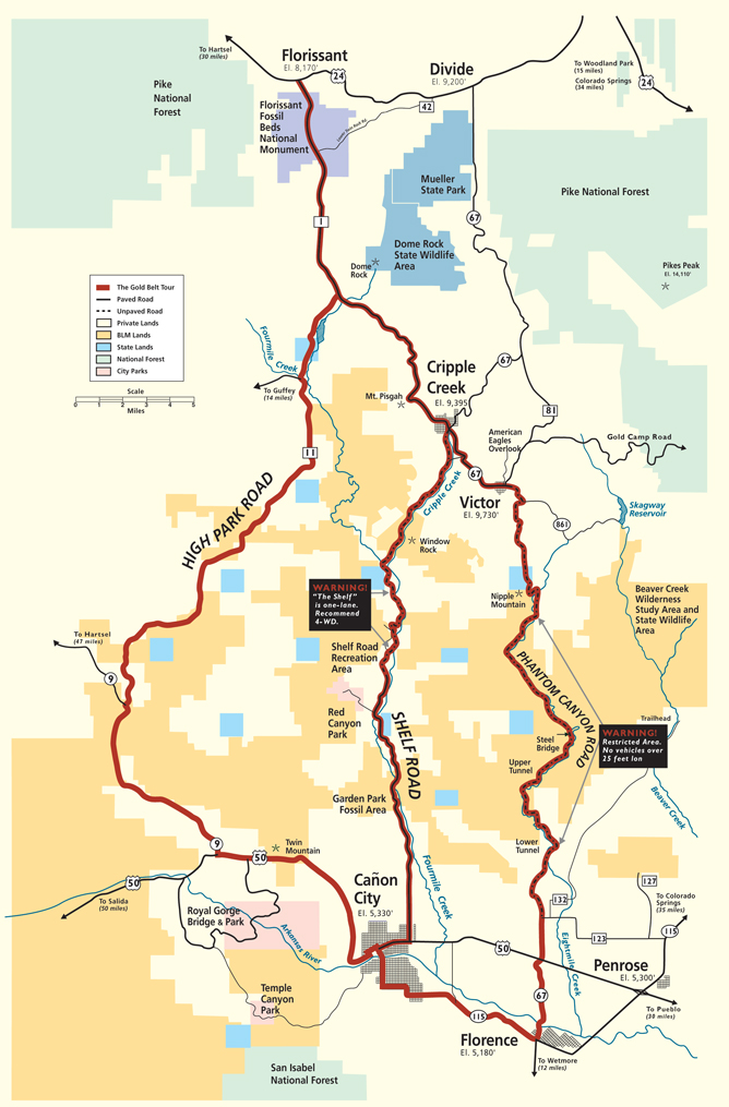 Gold Belt Scenic Byway Map